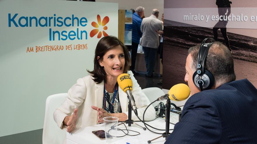 La consejera de Turismo del Gobierno de Canarias, María Teresa Lorenza, en la ITB