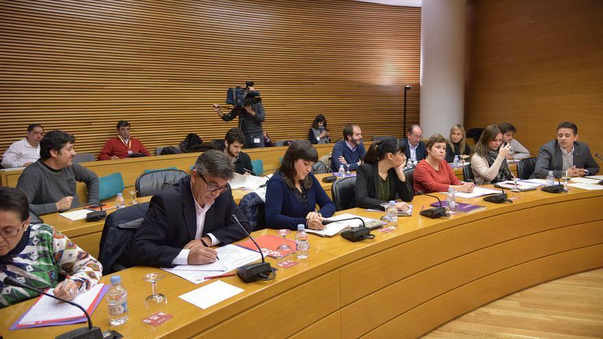 Los portavoces de PSPV, Compromis, Podemos, Ciudadanos y PP en la comisión de investigación de Ciegsa