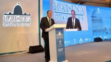 A handout photo made available by the India Ministry of External Affairs shows Russian Minister of Foreign Affairs Sergey Lavrov speaking during the Raisina Dialogue 2020 in New Delhi, India, 15 January 2020.