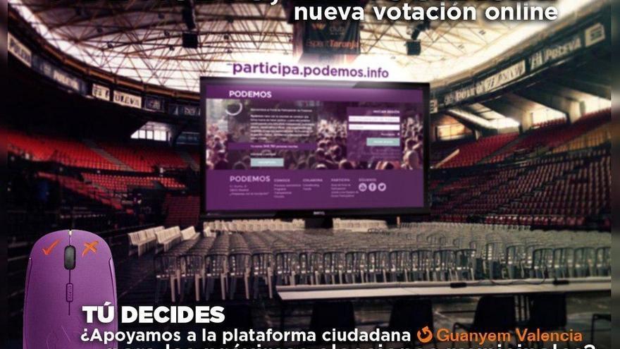 Podemos somete a una consulta vinculante su confluencia con Guanyem València para las municipales