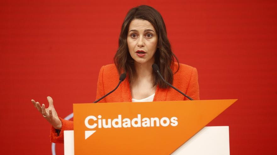 La portavoz de Ciudadanos, Inés Arrimadas, en la sede del partido