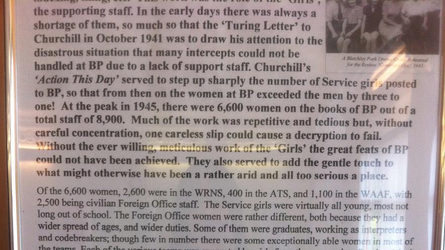 """La dedicatoria a las 6.600 """"chicas"""" que trabajaron en Bletchley Park"""