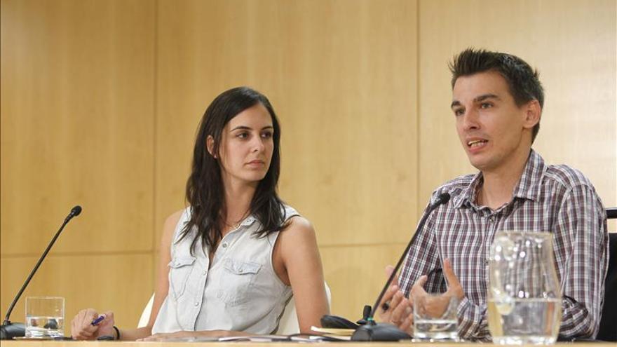 Rita Maestre y Pablo Soto, en la rueda de prensa de hoy.