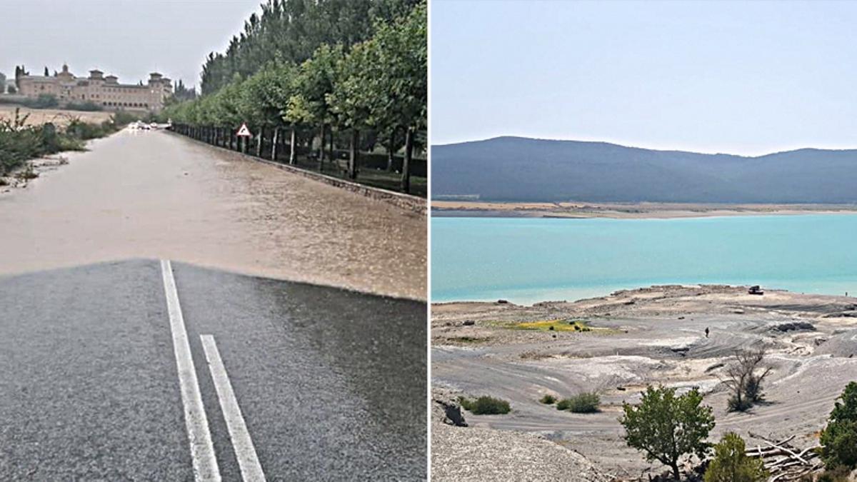 Inundación en la carretera dirección Pamplona en Artajona - a la izq.- y niveles del pantano de Yesa a mediados de agosto