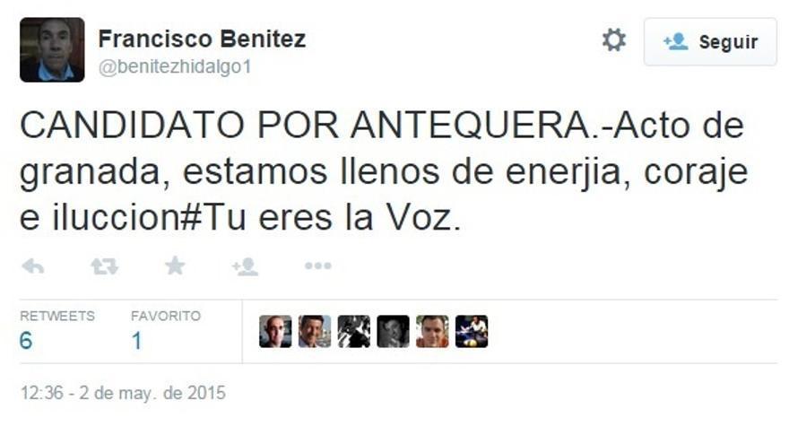 Piden al candidato de UPyD en Antequera que retire su cuenta de Twitter por faltas de ortografía