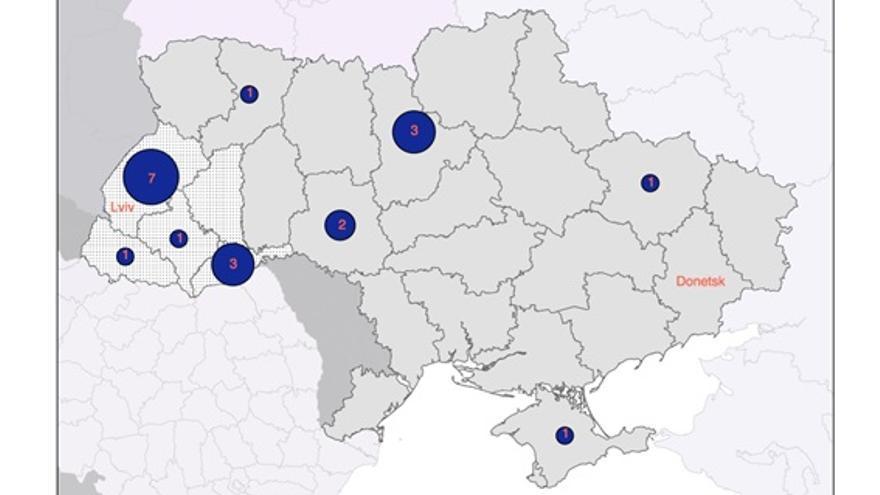 Mapa del origen regional de los ministros en el gobierno de Yatseniuk