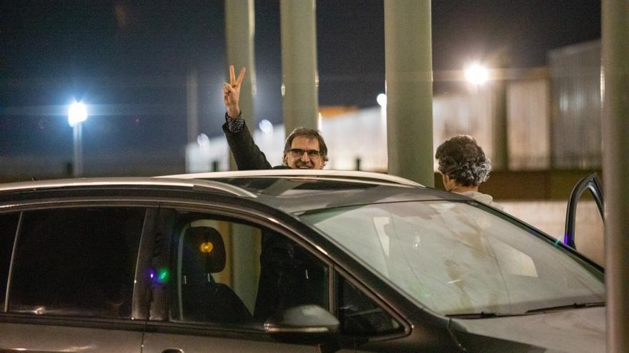 Jordi Cuixart a la salida de prisión en su primer permiso penitenciario.