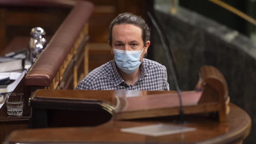Pablo Iglesias, en una de sus ultimas aaricio nes en el Congreso