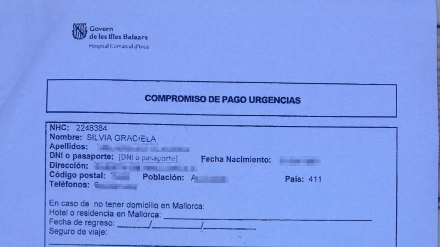 Factura de cobro del servicio de urgencias de Silvia, enferma de cáncer. Documento cedido por Amnistía Internacional.