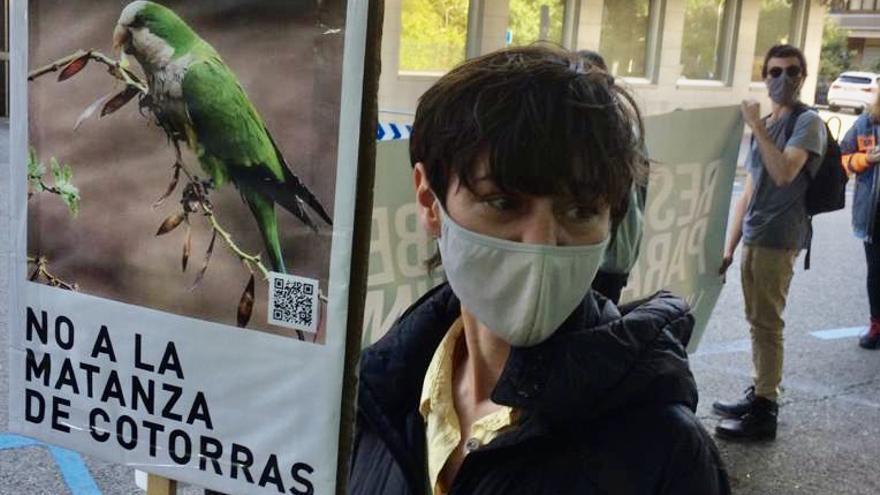 La artista Lidia Toga en la concentración frente a la sede de la empresa Matinsa contra la matanza de cotorras en Madrid. Toga vio cómo operarios contratados por el Ayuntamiento de Madrid arrancaban todos los nidos de cotorras de un cedro atlántico sobre el que estaba trabajando para su proyecto artístico sobre la renaturalización del Manzanares