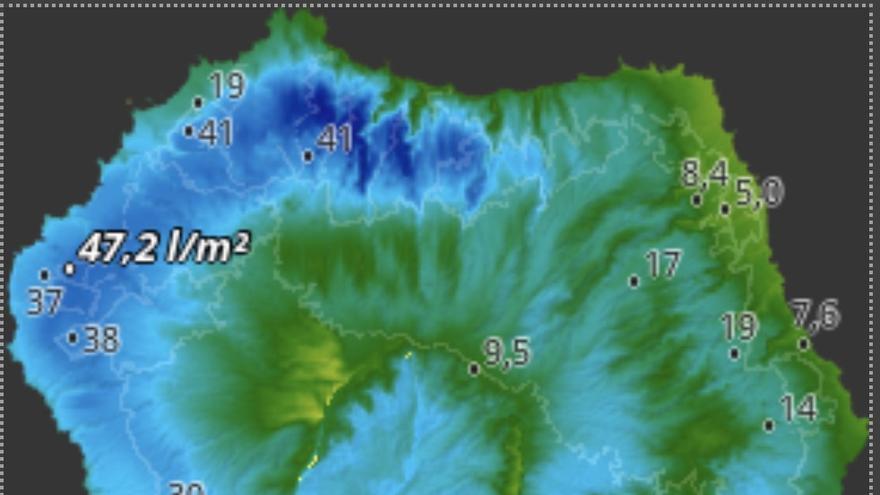 Mapa de HD Meteo La Palma de la lluvia caída este sábado, hasta las 09:10 horas, en diversos puntos de la Isla.