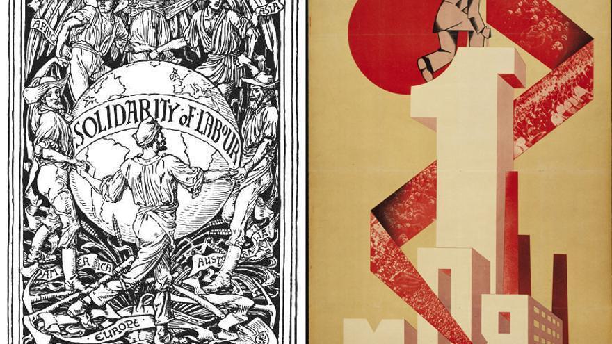 El primero de mayo, representado por Walter Crane (1896) a la izquierda y por Yakov Guminer (1923) a la derecha