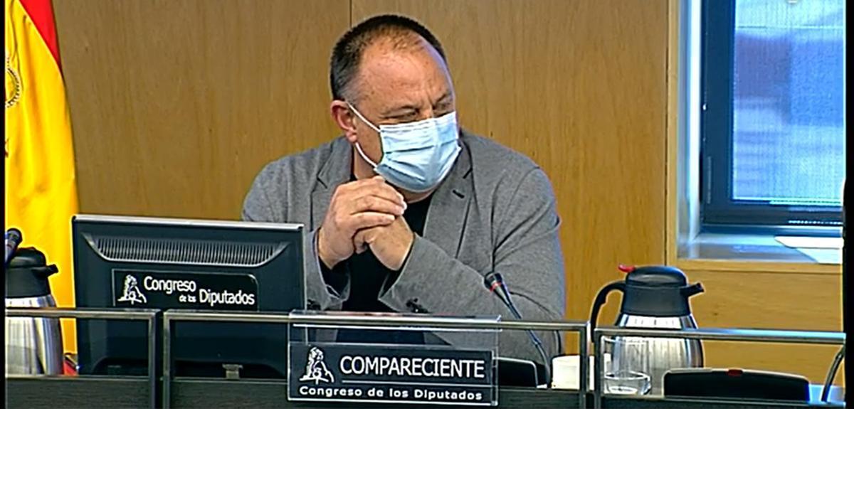El secretario general de Industria de CCOO, Agustín Martín, este martes en el Congreso.