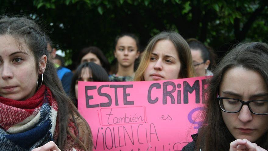 Manifestantes contra la violencia machista en Albacete
