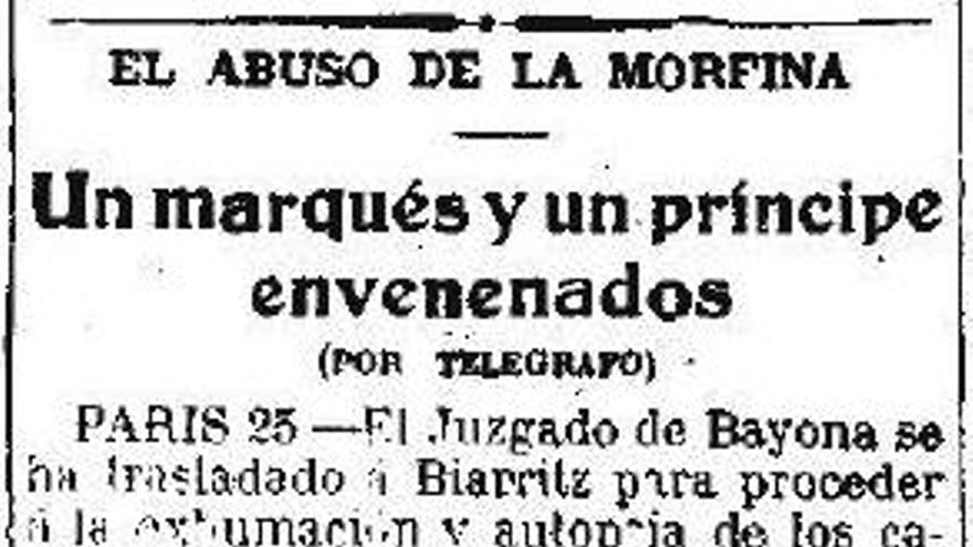 Un breve publicado en 'El País' del 26 de agosto de 1916 sobre la muerte por sobredosis del Marqués de Casa Montalvo y del príncipe Pignatelli de Aragón.