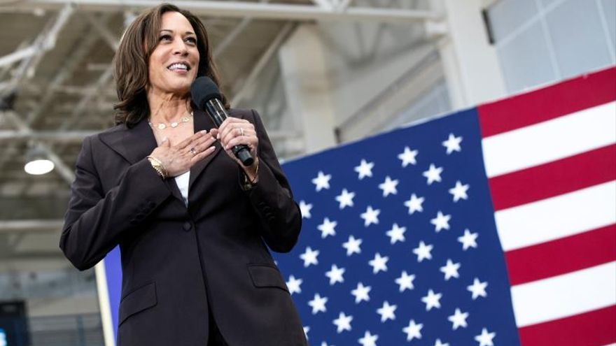 US Senator Kamala Harris addresses the audience during a rally at Los Angeles Southwest College in Los Angeles, California, USA.