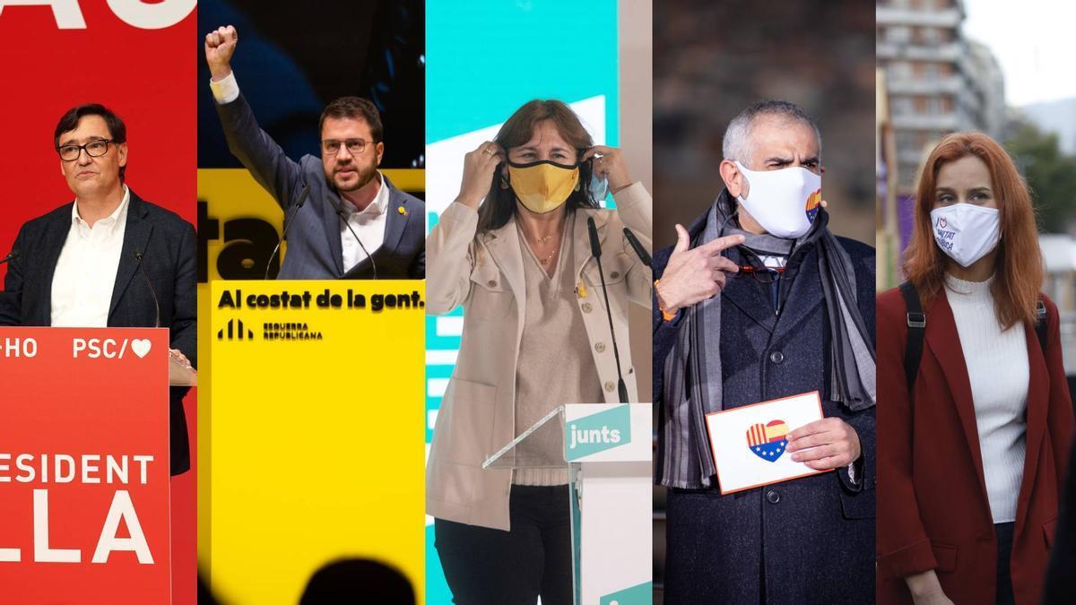 Los candidatos Salvador Illa, Pere Aragonès, Laura Borràs, Carlos Carrizosa y Jéssica Albiach