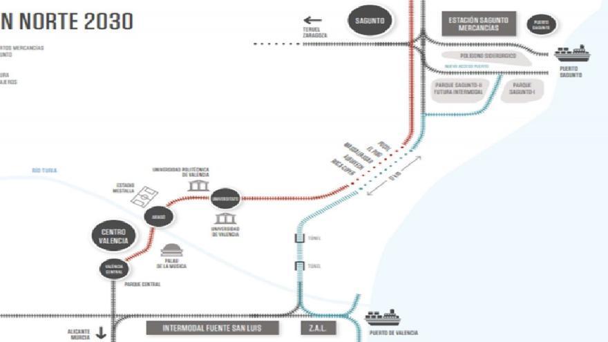 Plano de la red ferroviaria con la nueva doble plataforma conectada al túnel pasante (en rojo) y con el recorrido de la lanzadera (azul) conectada a los puertos de Sagunt y València