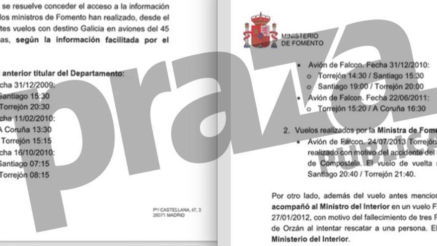 Vuelos oficiales a Galicia en aviones militares de los ministros de Fomento gallegos
