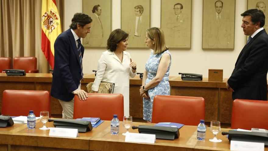 Rafael Hernando, Soraya Sáenz de Santamaría y Ana Pastor