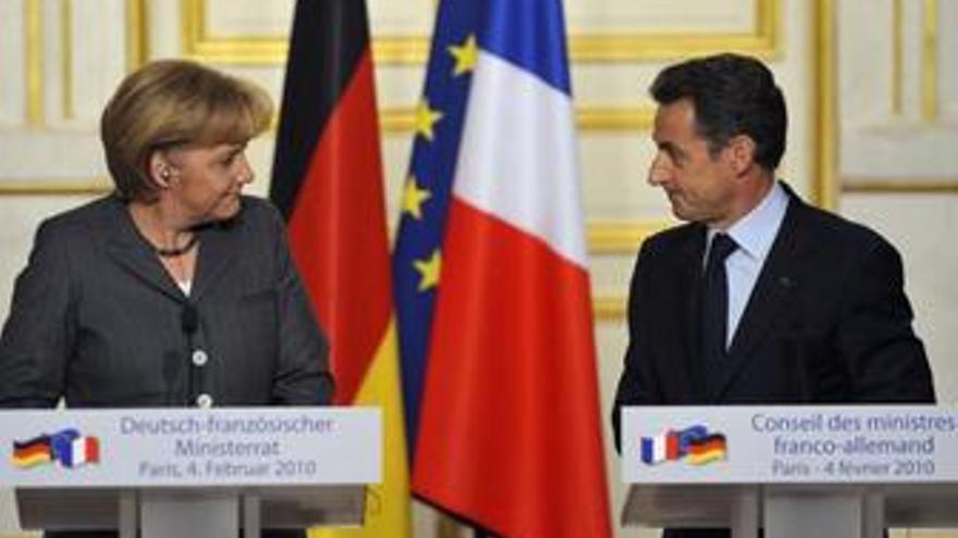 Merkel y Sarkozy en la cubre franco-germana