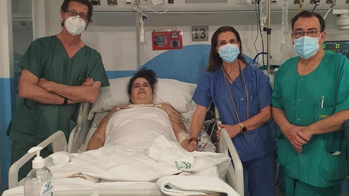 Paciente de Pozoblanco tras recibir el alta