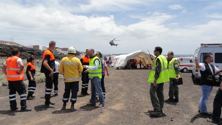 Simulacro accidente aéreo en El Hierro en el año 2011.