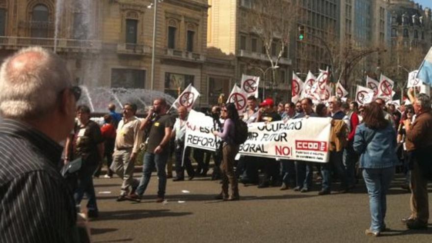 Protesta laboral en Barcelona.