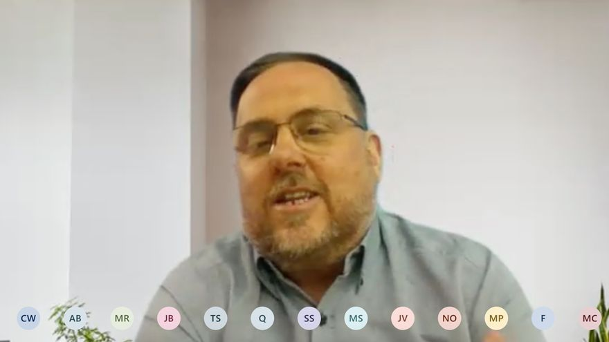 Oriol Junqueras, durante la clase impartida en la Universitat de Vic