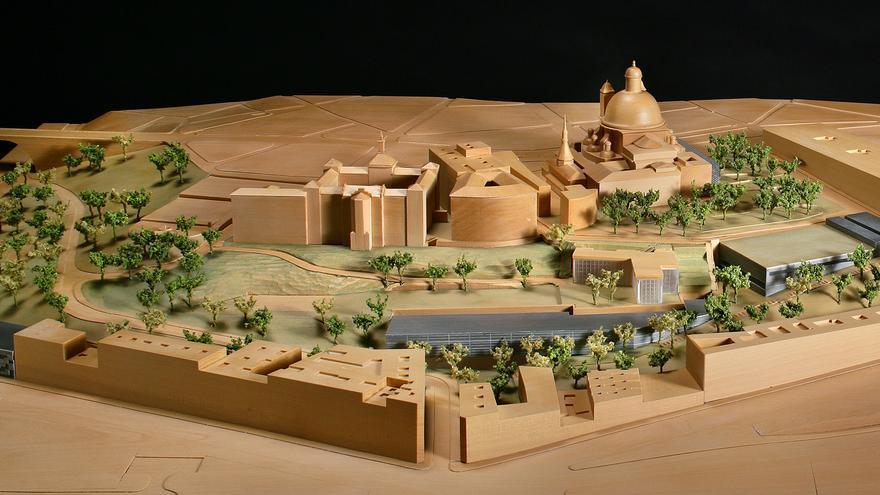 Maqueta del plan para los jardines del Seminario con las nuevas edificaciones proyectadas.