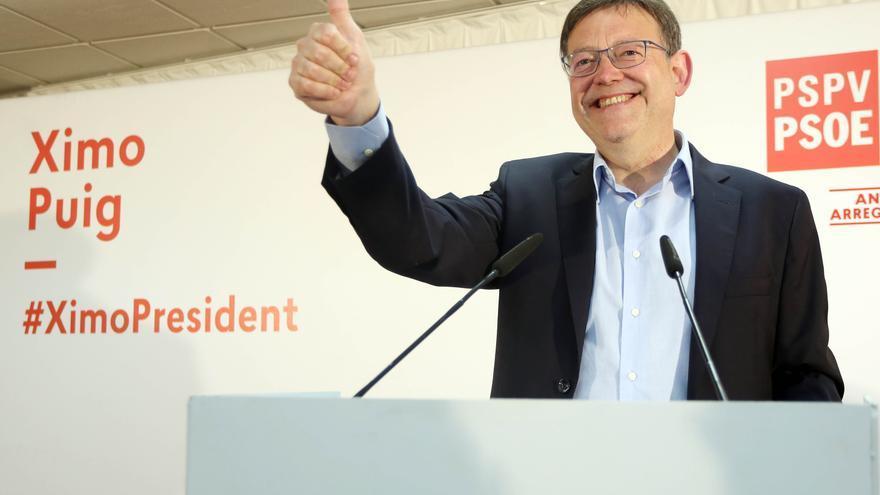 Ximo Puig celebra los resultados del PSPV-PSOE en las elecciones valencianas.