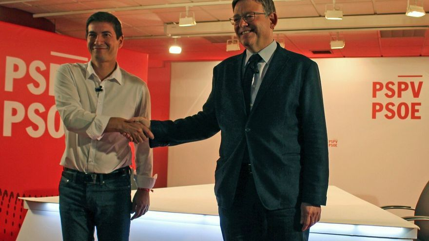 Rafa García y Ximo Puig antes del debate previo a las primarias para elegir secretario general del PSPV-PSOE.