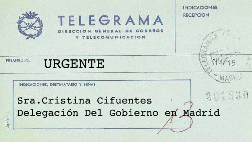 Telegrama urgente a Cifuentes