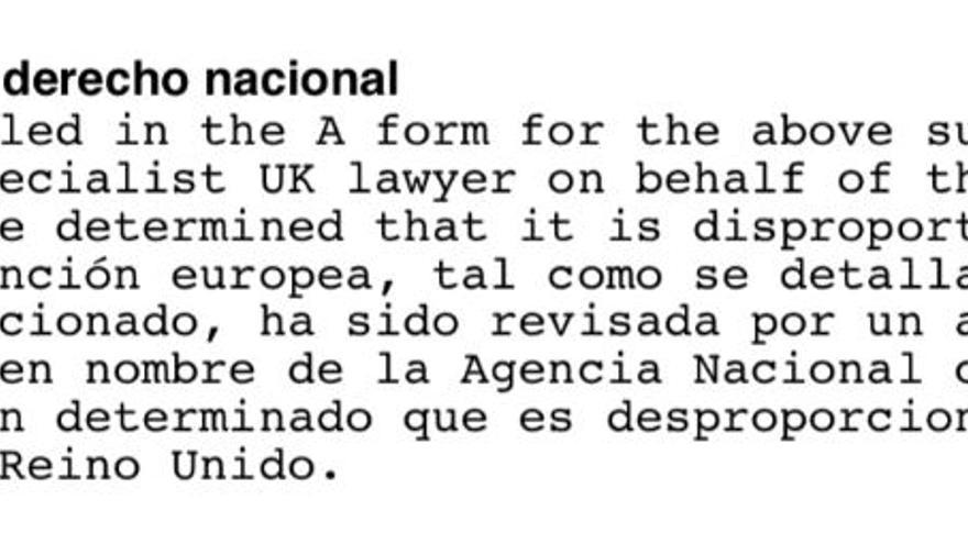 Fragmento de la primera respuesta de Reino Unido.