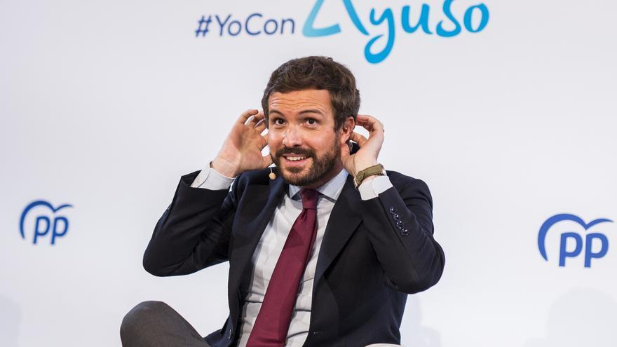 El líder del PP, Pablo Casado, en un acto en el Teatro Real Carlos III de Aranjuez.  En Madrid, a 28 de abril de 2021.