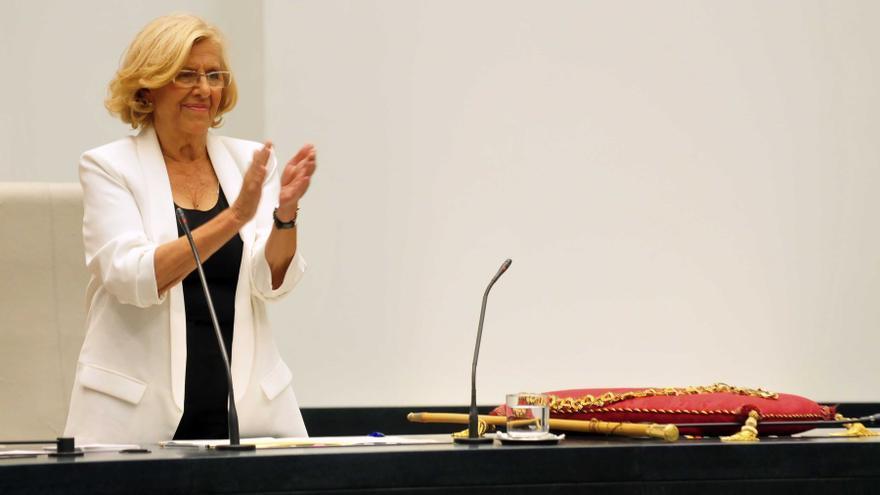 Manuela Carmena durante la sesión de investidura en la que se proclamó alcaldesa el 13 de junio de 2015.