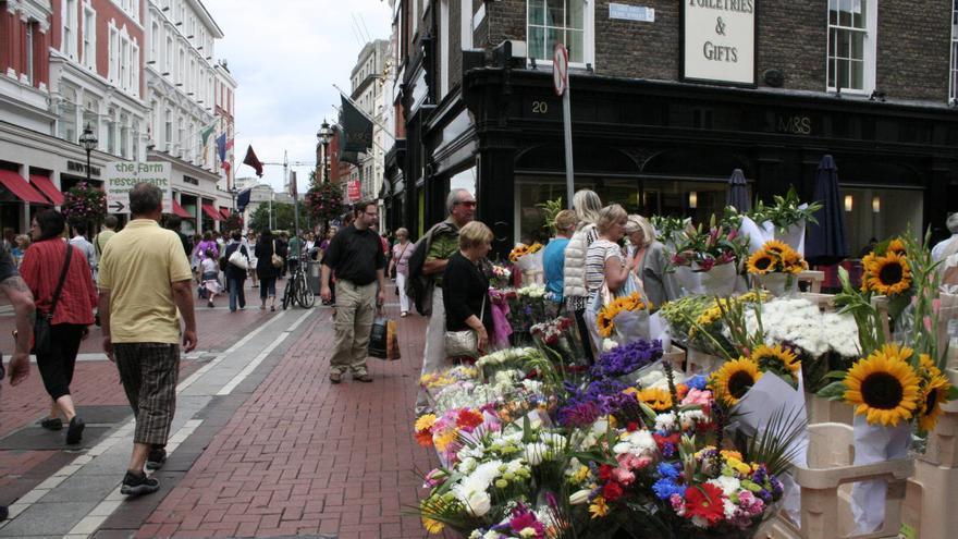 Puestos de flores de Grafton Street, una de las vías céntricas de Dublín.