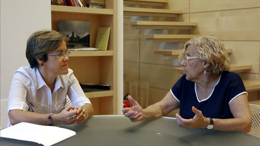 La portavoz del PSOE y la alcaldesa de Madrid, en una imagen de archivo.