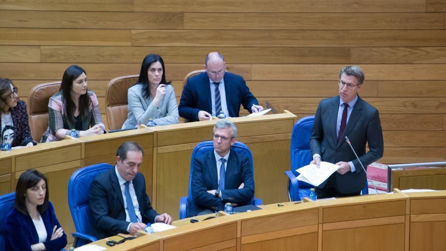 Feijóo, durante la sesión de control en el Parlamento de Galicia de este martes