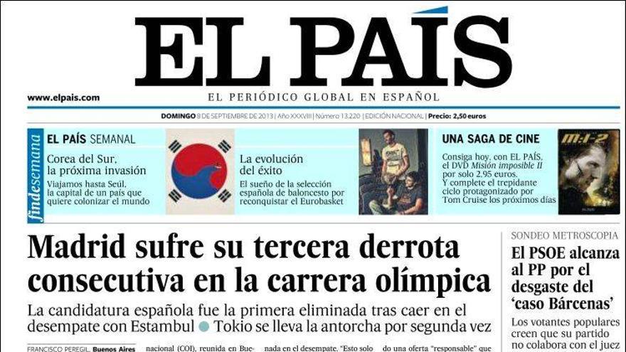 'Madrid sufre la tercer derrota consecutiva'. La portada de El País tras la decesión del COI. Fuente:Kiosko.net