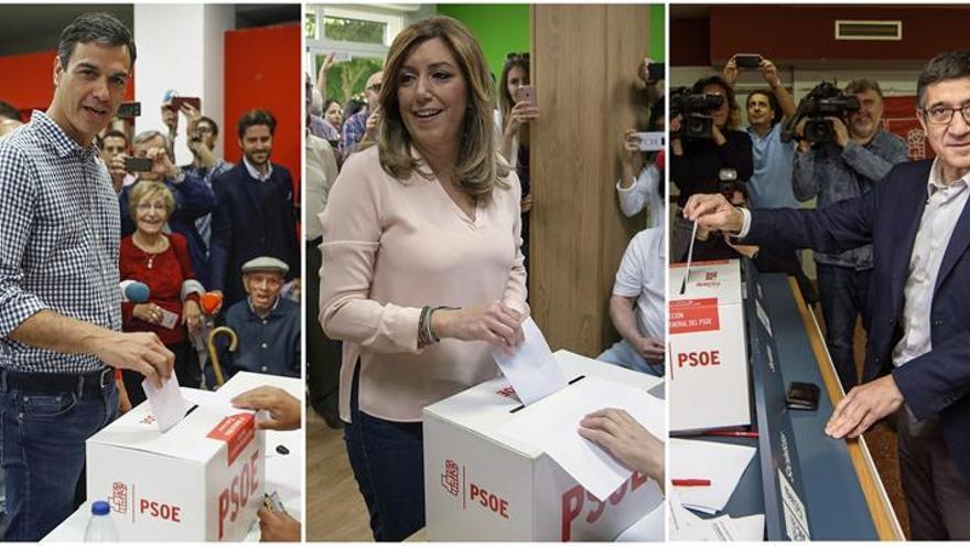 Sánchez, Díaz, y López durante la votación de primarias del PSOE.