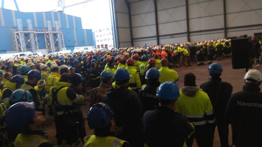 Imagen de la asamblea de los trabajadores de Puerto Real.