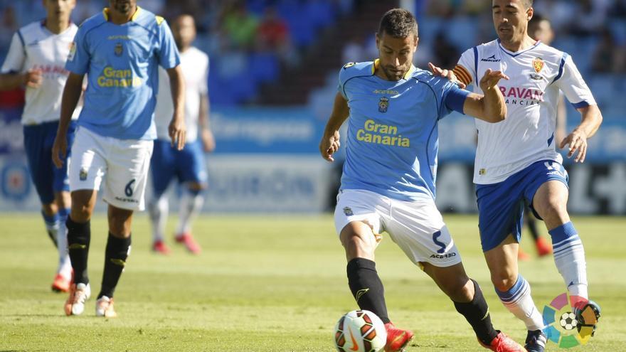 David García en el partido entre el Zaragoza y Las Palmas (LFP)