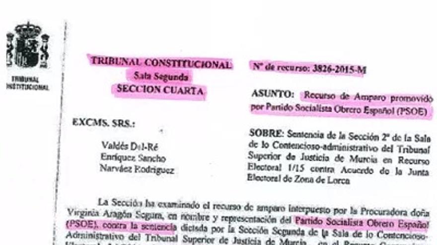 Recurso amparo PSOE Lorca ante Tribunal Constitucional