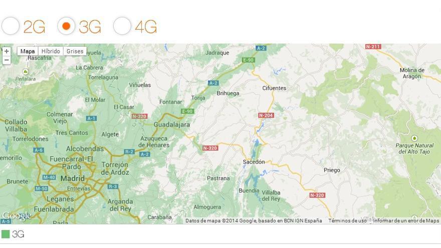 Así es la cobertura 3G de Orange por algunas zonas de España