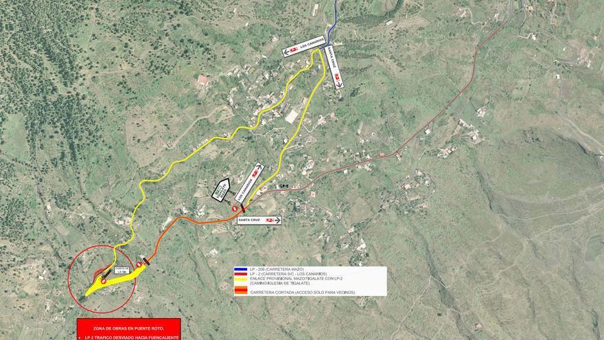 Plano del desvio  en Puente Roto facilitado por el Gobierno de Canarias.