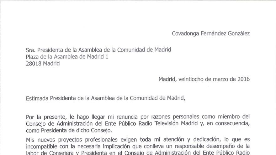 Carta de dimisión de Covadonga Fernández como presidenta de Telemadrid