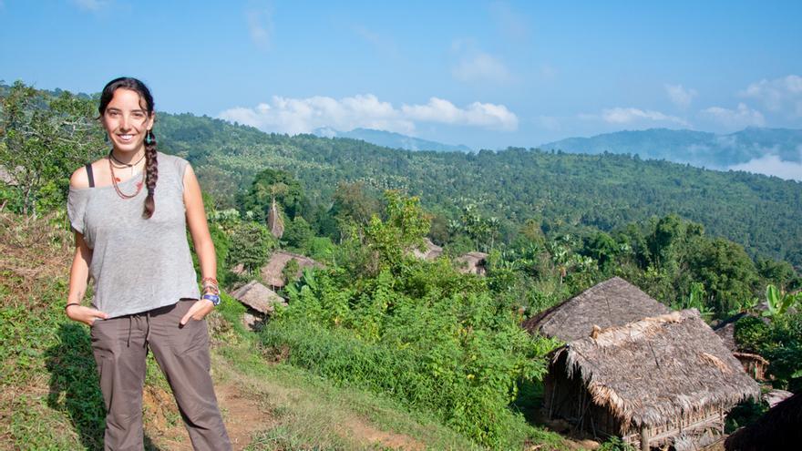 Carmen Teira, cántabra en India.