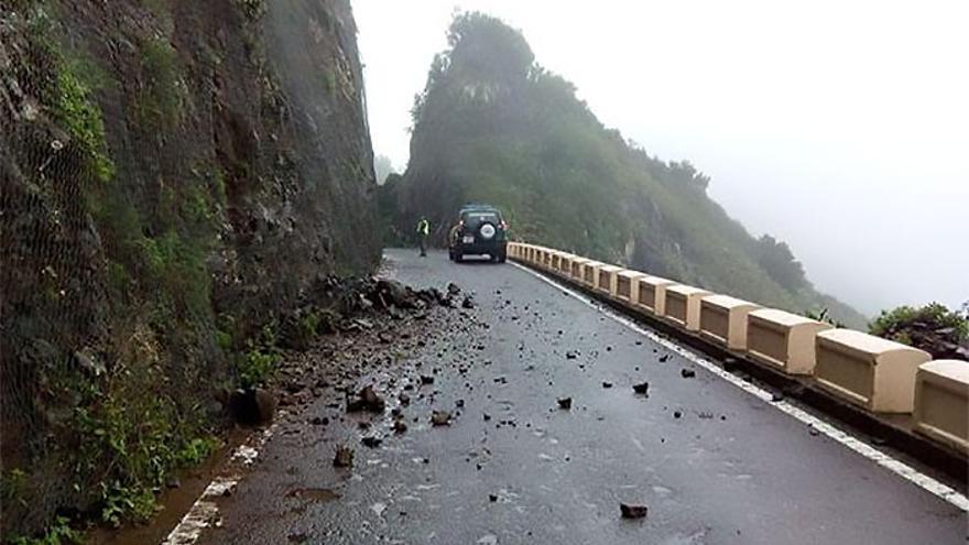 Desprendimientos en Tenerife por el temporal de lluvia.