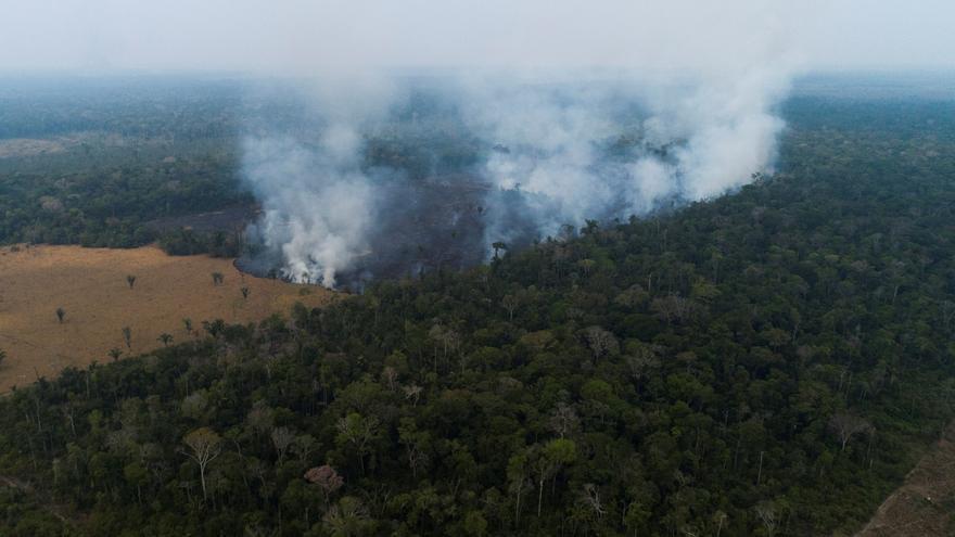 Vista aérea de los efectos de un de incendio en la Amazonía de Rondonia (Brasil).